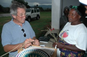 Michael purchasing baskets from one of the weavers