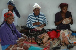 Basket weavers waiting to sell their wares to Michael Pratt; LFA Field Director